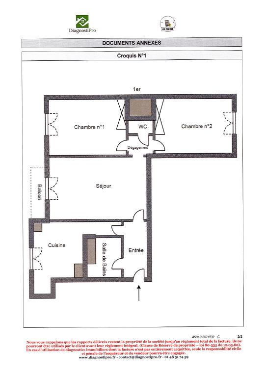 Appartement Paris 3 pièce(s) 53.16 m2